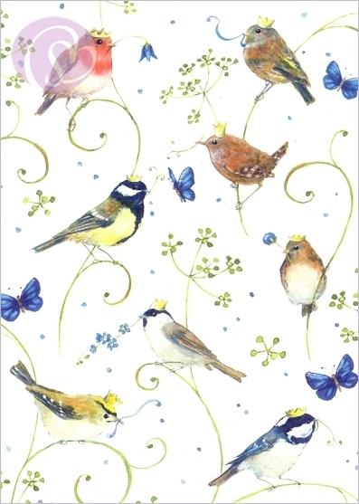 daniela drescher postkarte vogel mit krone schreib mal wieder. Black Bedroom Furniture Sets. Home Design Ideas