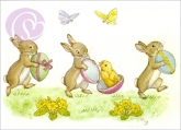 Postkarte Three Rabbits with Easter Eggs