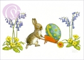 Postkarte Rabbit pushing a decorated Easter Egg in a Wheelbarrow