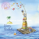 Postkarte Happy Birthday, Insel